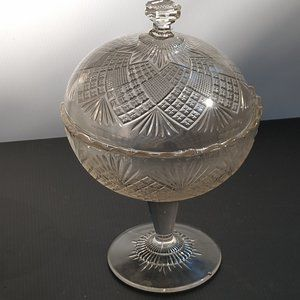 Vintage Etched Globe Bowl On Stand
